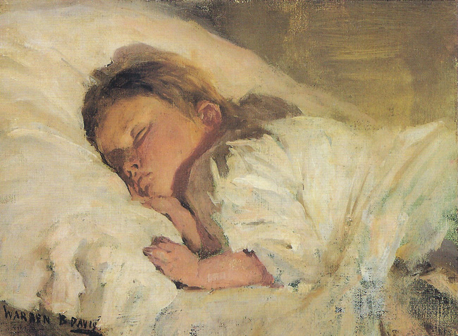 WARREN B. DAVIS  Child Asleep   Oil on canvas 6 x 8 inches  SOLD