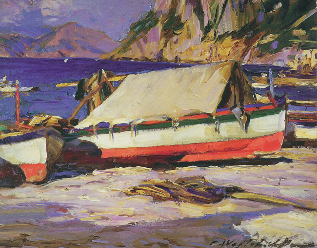 CONSTANTIN WESTCHILOFF  Fishing Boats on Capri   Oil on board 8 x 10 inches (20 x 25.5 cm.)  SOLD