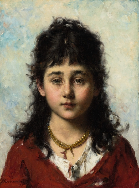 ALEXEI HARLAMOFF  Portrait of a Young Girl Wearing a Necklace   Oil on canvas 18¾ x 13¾ inches (47.6 x 34.9 cm)  SOLD