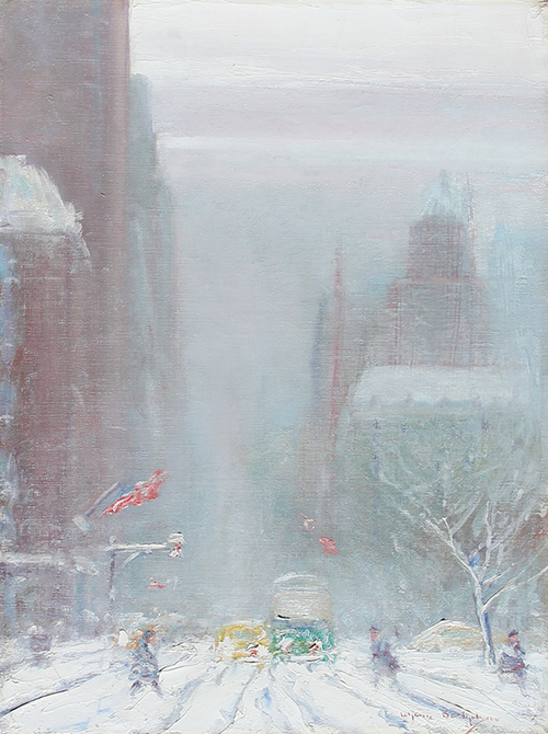 JOHANN BERTHELSEN  5th Avenue at 60th Street, Looking South   Oil on canvas 16 x 12¼ inches (40.7 x 30.5 cm)  SOLD