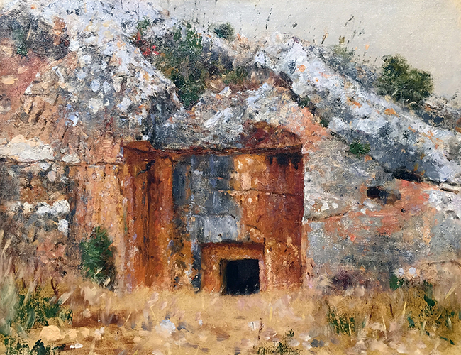 VASILY VERESHCHAGIN    One of the old Jewish Tombs near Jerusalem   Oil on canvas 10½ x 13½ inches  SOLD