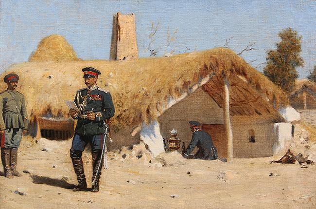 VASILY VERESHCHAGIN  The Adjutant   Oil on canvas 19¾ x 29¾ inches (50 x 75.5 cm)  SOLD