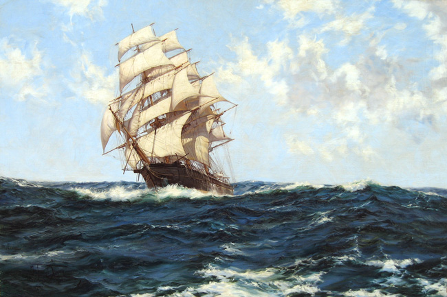 """MONTAGUE DAWSON    Pacific Rollers - The Boston Clipper """"Southern Cross""""   Oil on canvas 28 x 42 inches (71 x 106.5 cm)  SOLD"""