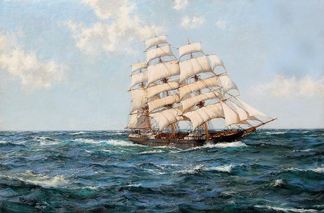 "MONTAGUE DAWSON    Blue Skies: ""The Shun Lee""   Oil on canvas 24 x 36 inches (61 x 91.4 cm)  SOLD"