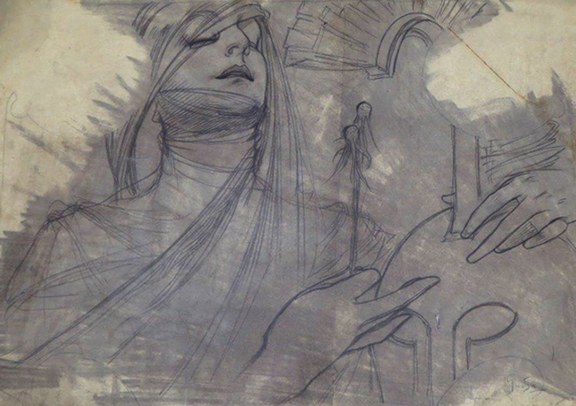 ALPHONSE MARIA MUCHA    Study for the Bosnia-Herzegovina Pavilion at the Exposition Universelle, Paris, 1900   Pencil, crayon and grey wash on paper Sight: 13 x 18 1/2 inches (33 x 47 cm) Sheet size: 17 1/4 x 23 3/4 inches (43.7 x 59.7 cm) $9,500 Click here for more information