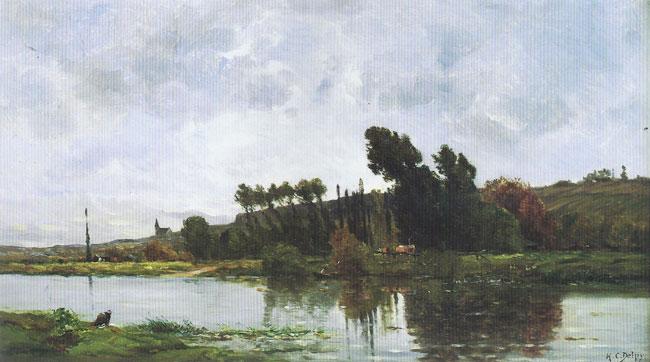 HIPPOLYTE CAMILLE DELPY  Bords de Rivière   Oil on panel 14¾ x 25¾ inches (37.5 x 65.4 cm.)  SOLD