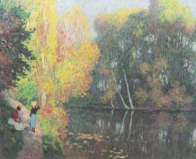 GEORGES D'ESPAGNAT  Mare à Aubergenville (Seine et Oise)   Oil on canvas 27¾ x 36¼ inches (70.5 x 92 cm.)  SOLD
