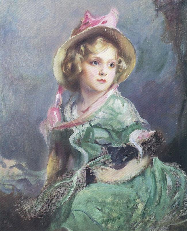 PHILIP DE LASZLO  Portrait of Pallas Blair Drummond   Oil on canvas 36 x 28 inches (91.5 x 71 cm.)  SOLD