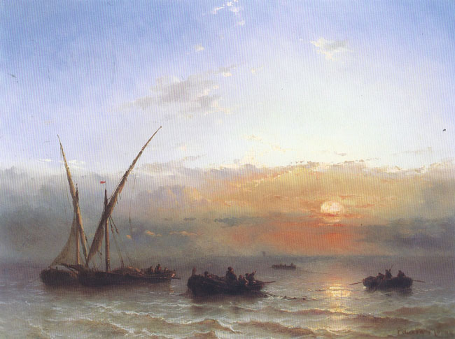EDWARD MORAN  Fishing Boats at Sunset   Oil on panel 12 x 16 inches (30.5 x 40.7)  SOLD