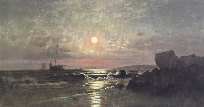 FRANCIS AUGUSTUS SILVA  Moonrise on the New England Coast   Oil on canvas 18 x 34½ inches (45.7 x 87.5 cm.)  SOLD