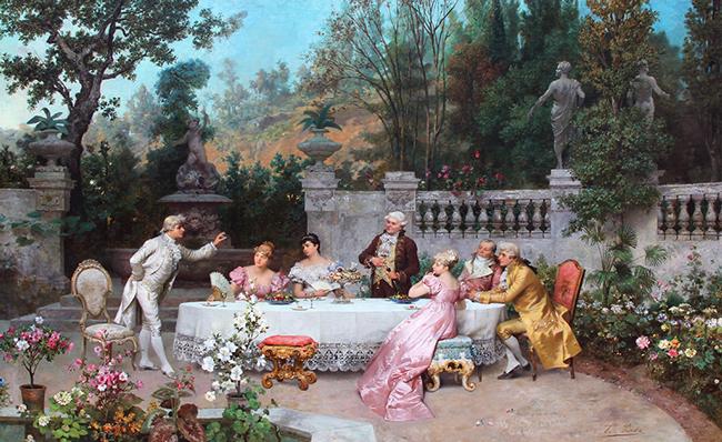 FRANCESCO BEDA  The Garden Party    Oil on canvas 35½ x 56½ inches ( 90.2 x 143.3 cm.)  SOLD