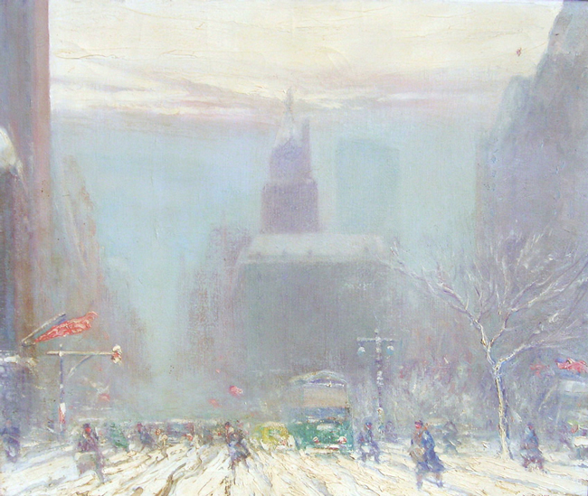 JOHANN BERTHELSEN  Fifth Avenue and The Plaza   Oil on canvas 25 x 30 inches (81.3 x 94 cm.)  SOLD