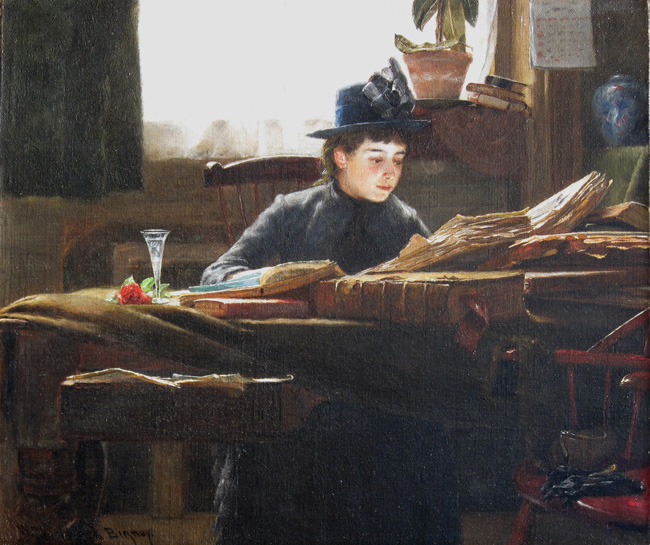 WILLIAM VERPLANCK BIRNEY  The Reader   Oil on canvas 12 x 14 inches (30.5 x 35.5 cm.)  SOLD