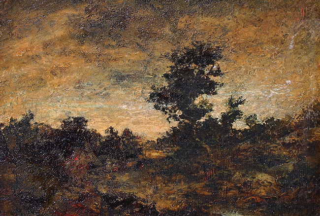 RALPH ALBERT BLAKELOCK  An Indian Encampment   Oil on panel 7¾ x 11¼ inches (19.7 x 28.5 cm.)  SOLD