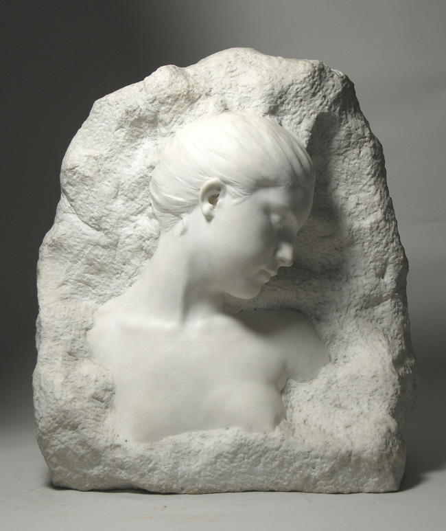 ALFRED BOUCHER  Volubilis (Morning Glory)   White marble 20 x 17½ x 8½ inches (50.8 x 44.5 x 21.5 cm.)  SOLD