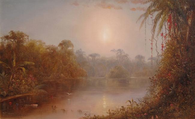 NORTON BUSH  Tropical River Landscape   Oil on canvas 22 x 36 inches (55.9 x 91.4 cm.)  SOLD
