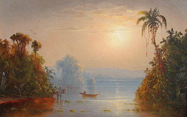 NORTON BUSH  A Tropical Sunset   Oil on canvas 9 x 14¼inches (23.2 x 36 cm.)  SOLD