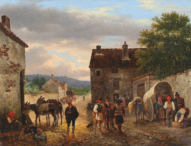 GIUSEPPE CANELLA, THE ELDER  A Village Courtyard   Oil on canvas 7½ x 9½ inches (19 x 24 cm.)  SOLD