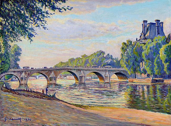 GUSTAVE CARIOT  Pont Royal, Paris   Oil on cavas 17 x 23 inches (43 x 58.3 cm.)  SOLD