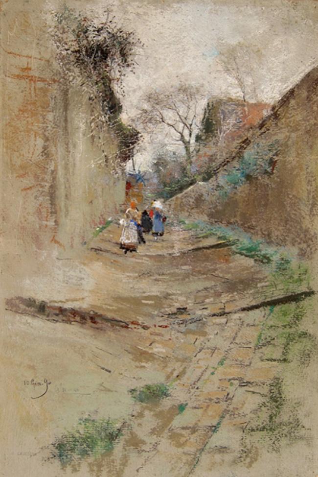 GIUSEPPE CASCIARO    Children on a Village Lane  (1890)  Pastel on paper 15¾ x 10½ inches (40 x 26.5 cm.)  SOLD