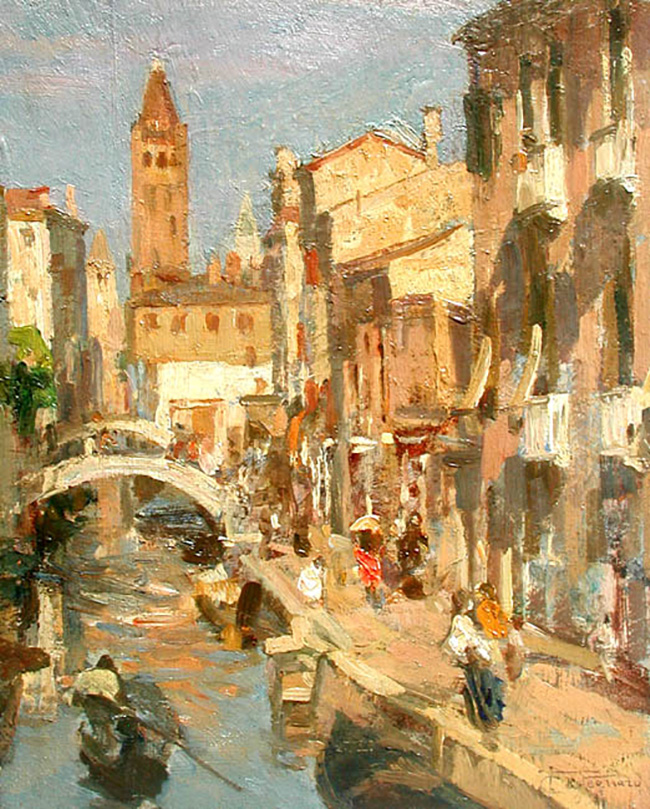 FELICE CASTEGNARO  A Venetian Canal   Oil on panel 12¼ x 10 inches (31 x 25.4 cm.)  SOLD