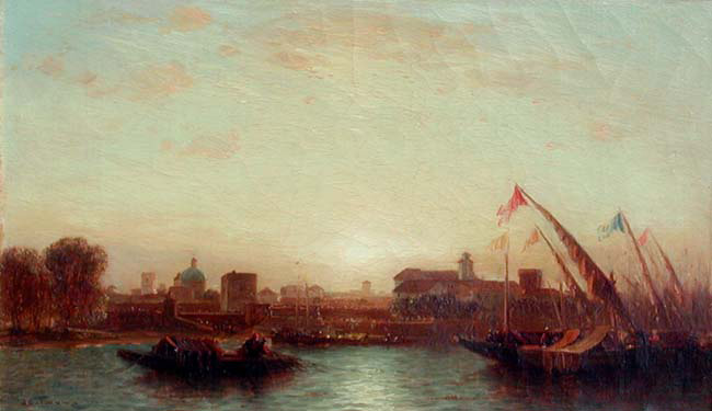 SAMUEL COLMAN    Sunset, Seville   Oil on canvas 9 x 14½ inches (23 x 37 cm.)  SOLD