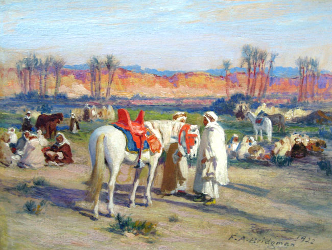 FREDERICK ARTHUR BRIDGMAN    Encampment along the Nile   (1922) Oil on panel 7½ x 9¼ inches (19 x 23.5 cm)  SOLD