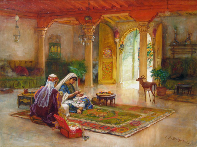 FREDERICK ARTHUR BRIDGMAN    Intérieur au Maroc   Oil on canvas 24 x 32 inches  (61 x 81 cm)  SOLD