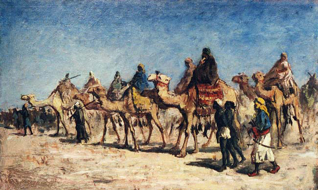 EDWIN LORD WEEKS  Camels and Caravan   Oil on board 11 x 18¼ inches (28 x 46.4 cm.)