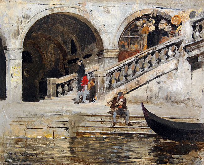 EDWIN LORD WEEKS    Rialto Bridge, Venice   Oil on board 8½ x 10½ inches (21.6 x 26.7 cm) $18,000 Click here for more information