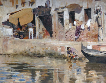 EDWIN LORD WEEKS    A Venetian Canal   Oil on canvas 13 x 16 inches (33 x 40.6 cm.)  SOLD