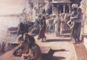 EDWIN LORD WEEKS    View in Benares   Oil on board 12 x 18 inches (30.5 x 45.6 cm.)  SOLD