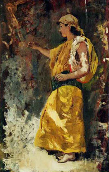 EDWIN LORD WEEKS    Woman in Yellow   Oil on canvas 20 x 12¼ inches (50.8 x 31 cm.)   SOLD