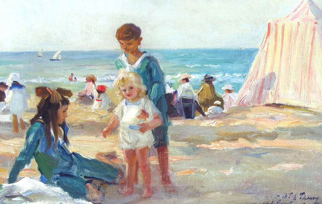 PAUL MICHEL DUPUY  On the Beach at Deauville   Oil on canvas 13½ x 20½ inches (34.3 x 52 cm.)  SOLD
