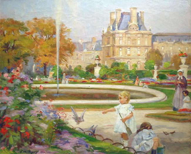 PAUL MICHEL DUPUY  Jardin de Tuileries, Paris   (1921) Oil on canvas 21½ x 26 inches (54.6 x 66 cm.)  SOLD