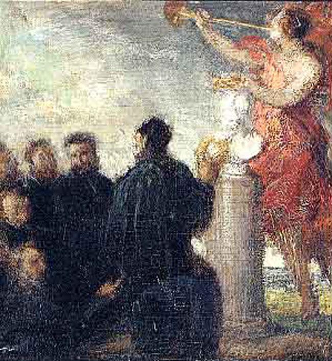 HENRI FANTIN-LATOUR    Hommage à Delacroix   Oil on canvas 18¾ x 11 inches (29.5 x 27.7 cm.)  SOLD