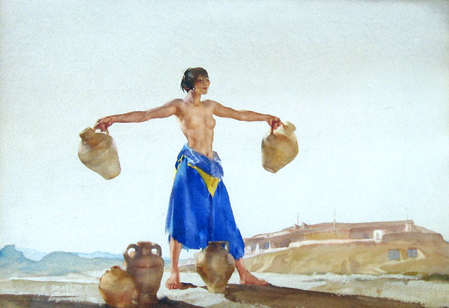 SIR WILLIAM RUSSELL FLINT  Juanita the Strong   Watercolor on paper 13½ x 19½ inches (34.2 x 49.5 cm.)  SOLD