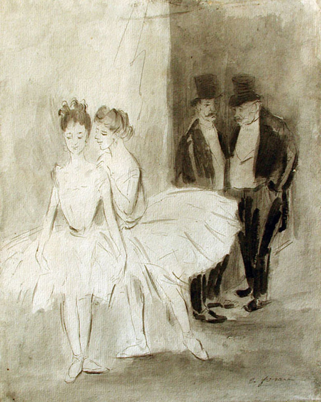 JEAN-LOUIS FORAIN  Danseuses   Pen and ink and watercolor on paper 10¼ x 8¼ inches (26 x 21 cm.)  SOLD