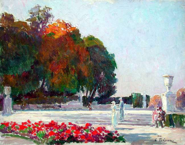 PAUL LÉON FREQUENEZ  Figures Strolling in the Parc de Saint Cloud, Paris   Oil on canvas 12¼ x 16¼ inches (31.2 x 41.3 cm.)  SOLD