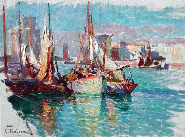 PAUL LÉON FREQUENEZ  The Port at La Rochelle   Oil on canvas laid down on panel 9¾ x 13 inches (24.7 x 33 cm.)  SOLD