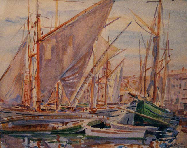WILFRID GABRIEL DE GLEHN  Boats in St. Tropez   Watercolor on paper 16 x 20 inches (40.6 x 50.9 cm.)  SOLD