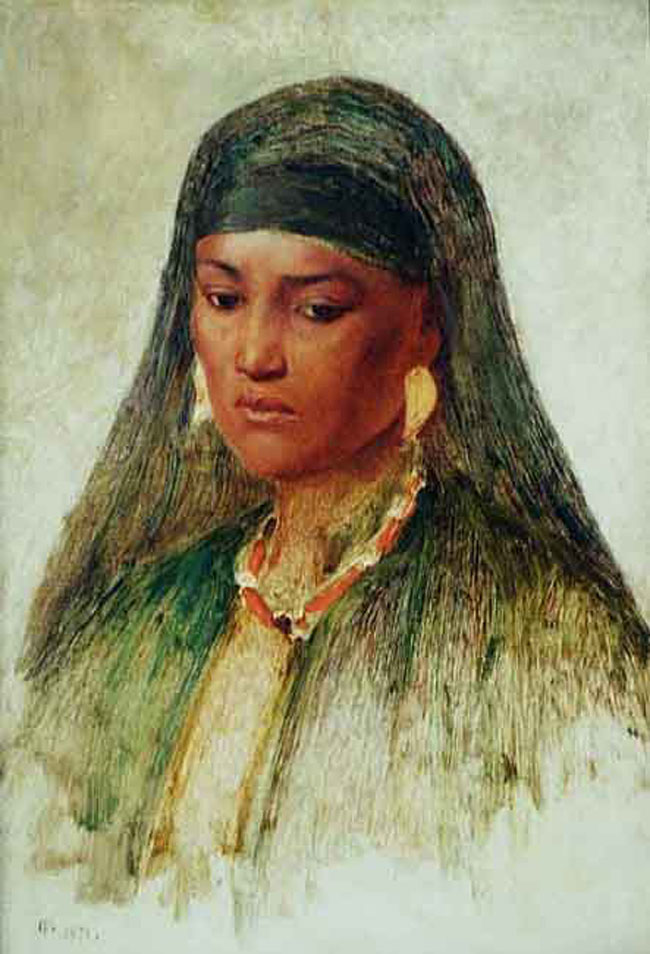 FREDERICK GOODALL    Study of a Bedouin Woman   Oil on paper laid on canvas 20¼ x 14 inches (52.2 x 35.6 cm.)  SOLD