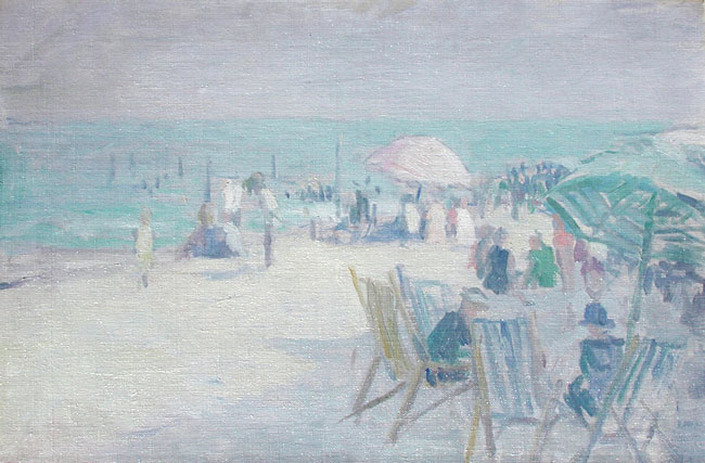EDMUND WILLIAM GREACEN  The Beach at Point Pleasant, New Jersey   Oil on canvas 16 x 24 inches (40.6 x 61 cm.)   SOLD