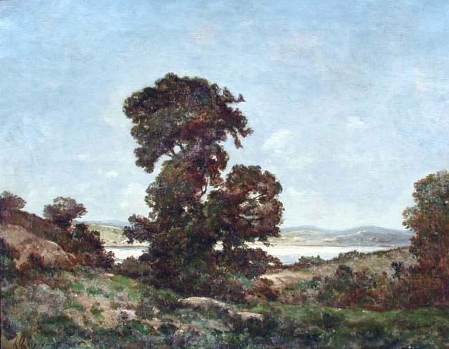 HENRI JOSEPH HARPIGNIES  A River Landscape   Oil on canvas 25½x 32 inches (64.8 x 81.3 cm.)  SOLD