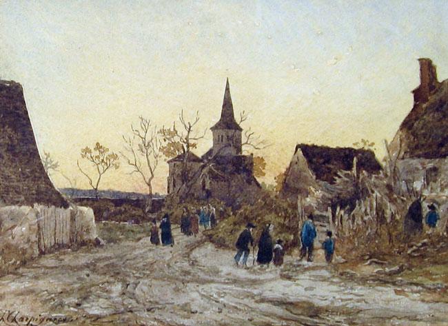 HENRI JOSEPH HARPIGNIES  Après les Vépres   Watercolor on paper 9 x 12½ inches (23 x 32 cm.)  SOLD