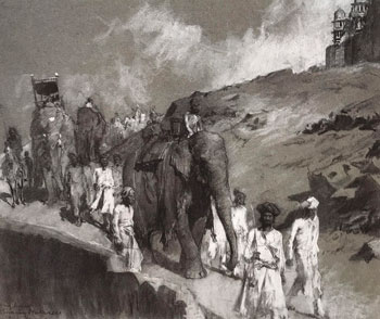 EDWIN LORD WEEKS    Procession beneath the Palace of Man Singh, Gwalior   Charcoal on paper 18 x 22 inches (45.7 x 55.9 cm.)  SOLD
