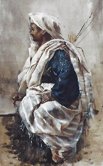 EDWIN LORD WEEKS    A Seated Zouave   Oil on canvas 18 x 11½ inches (45.7 x 29 cm.)  SOLD