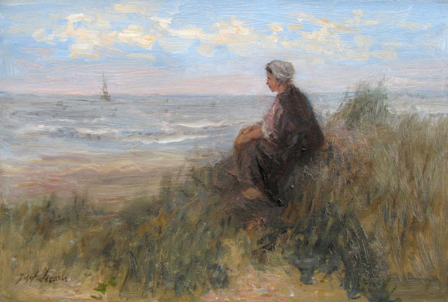 JOSEPH ISRAELS  Looking out to Sea   Oil on cradled panel 12½ x 18 inches (32 x 46 cm.)  SOLD
