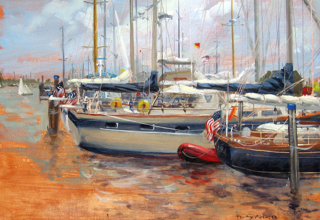 HENRY KOEHLER  Nantucket Yacht Basin   Oil on panel 10 x 14 inches (25.4 x 35.5 cm.)  SOLD