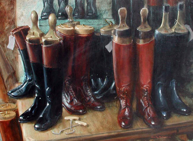 HENRY KOEHLER  Boot Maker's Shop Corner   Oil on canvas 18 x 24 inches (45.7 x 60.0 cm.)  SOLD